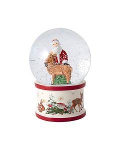 Snøkule Stor Julenisse Med Reinsdyr